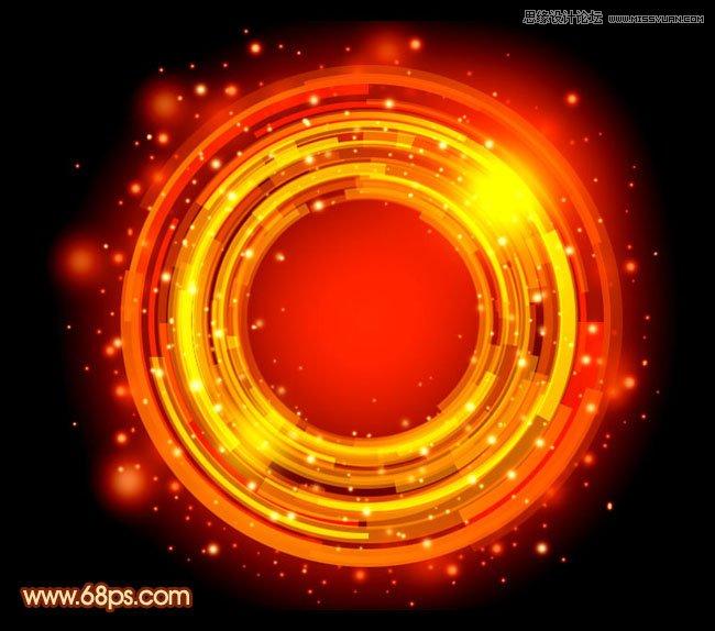 Photoshop设计梦幻绚丽的红色光环教程